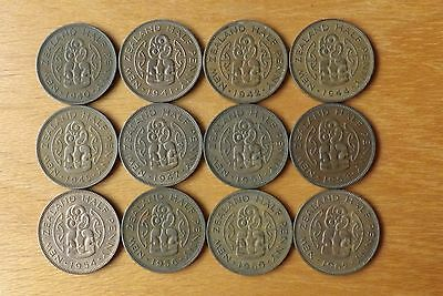 12 x New Zealand British HalfPenny Coins 1940-1962 Good Grades Scarce 1954...