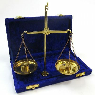 Solid Brass Antique Style Scale Set in Velvet Box