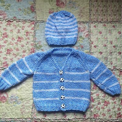 Hand Knitted Baby Boy's Blue & White Stripped Cardigan & Hat Set (3-6 Months)