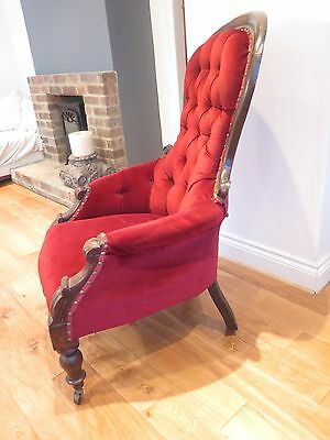 Beautiful Edwardian ladies mahogany spoon back chair with carved front uprights