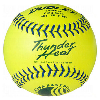 """Dudley Usssa Thunder Heat Fast Pitch Leather Softball 12"""" 12 Ball Pack"""