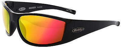 bab6526289a Berkley Badger Sunglasses Gloss Black Copper Red Mirror Lens!