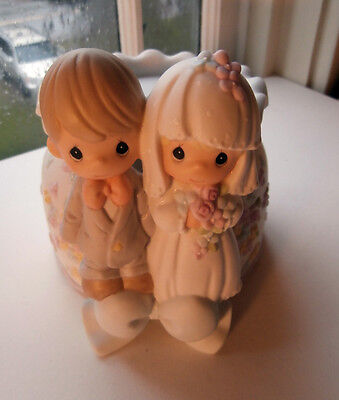 Vintage 2000 Enesco Precious Moments wedding Unity Candle Stand 6 x 6 inches