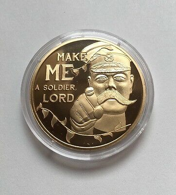 """Commemorative 50p Coin Gilded- Kitchener """"Make Me A Soldier Lord"""" 2014 Jersey"""