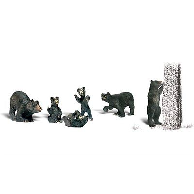 Painted Black Bears (OO/HO figures x 6) Woodland Scenics A1885 - free post F2