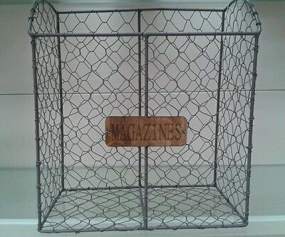 shabby chic Wire Magazine Newspaper Basket Post Storage Rack Vintage Style