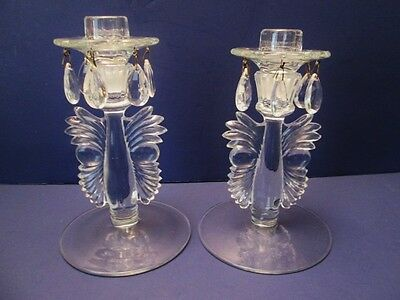 2 Paden City Crystal Maya Candle Sticks With Bobeches & 6 Crystal Prisms Each