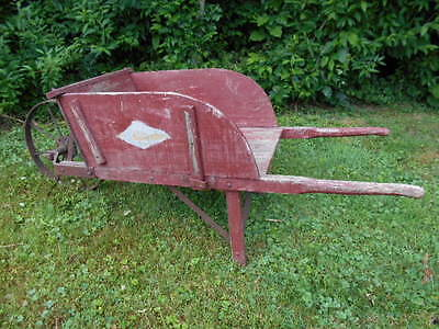 Full Size Antique Wheelbarrow w/Iron Wheel+Removable Sides/Farm/Garden/Display