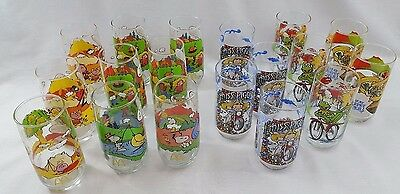 Glasses: Huge Lot of McDonald's Snoopy (9) & Muppets (9) Collectible Glasses