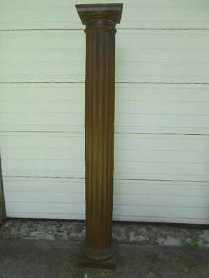 Set of (4) Antique Fluted Oak Round Columns