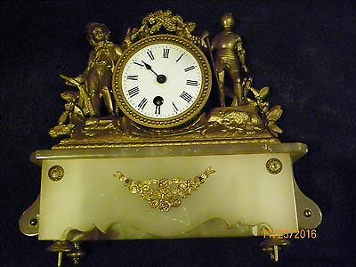 Antique French Alabaster Gilded mantle clock please read in full