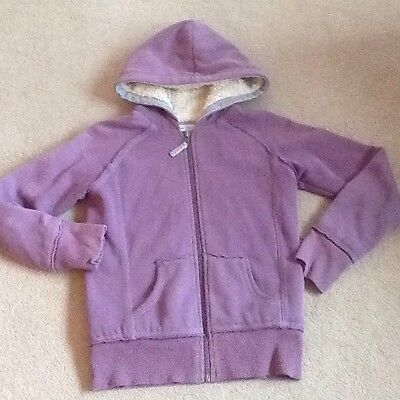 Girls lilac Boden shaggy lined hooded zip up hoody top 11-12 years