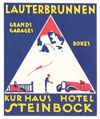 Hotel Steinbock LAUTERBRUNNEN Switzerland luggage label Kofferaufkleber  BRÜGGER