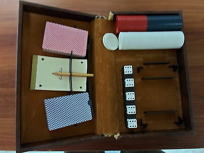 Old Boxed Bridge and Poker Set - Scorepad, pencil, 5 dice, 89 old plastic chips