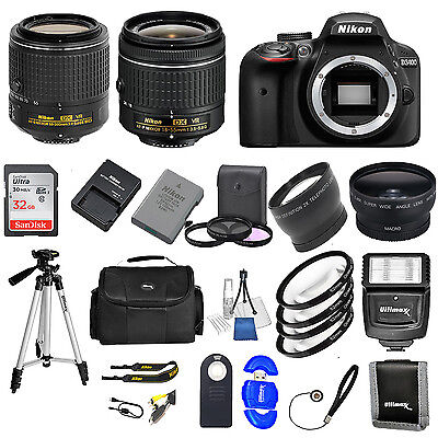 Nikon D3400 DSLR Camera w/ VR 18-55mm +  55-200 VR ii + 32GB VALUE BUNDLE * NEW*