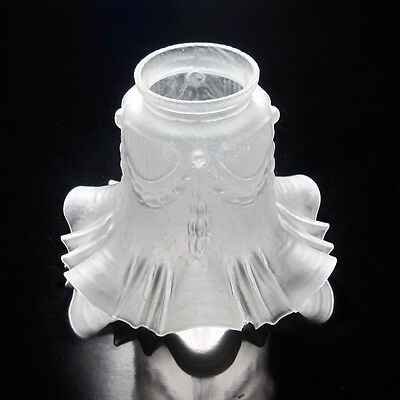 Vintage French Frosted Glass Lamp / Ceiling Shade, Ruffled Edges