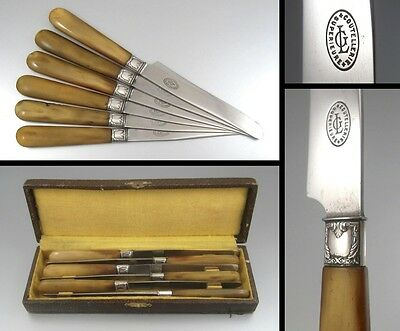 Antique French Knives, Horn Handles & Silver Collars, Stamped,6pcsw/Case