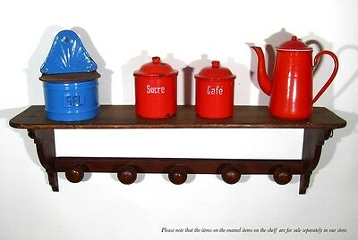 Vintage French Wooden Wall Shelf Coat Rack