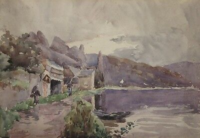 Antique French Watercolor, Meuse River Dinant Belgium, Studio of Cagniart Signed