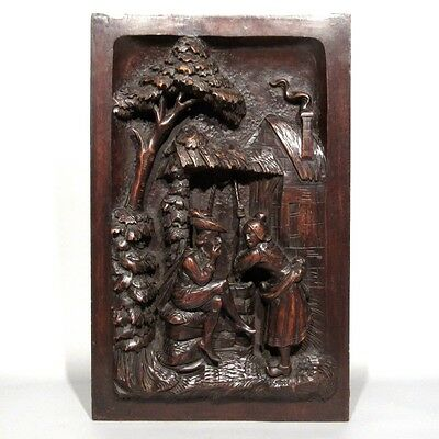 Antique French Hand Carved Wooden Panel, Courting Scene at Well, Neo-Renaissance