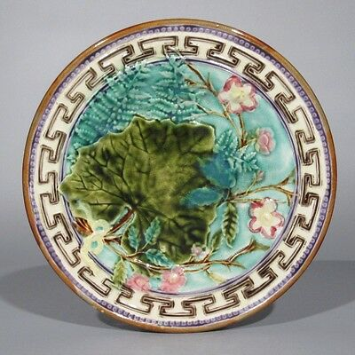 """Antique Belgian Majolica Footed Plate, Stamped """"Mouzin Lecat & Cie"""", 1851-1890"""