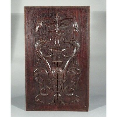 Antique French Hand Carved Wooden Panel with Stylized Dolphins, Vase & Acanthus