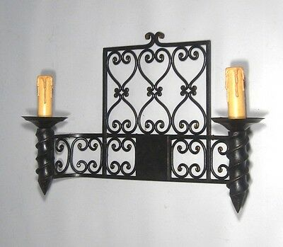 "Large Vintage French Wrought Iron Sconce, ""Chateau"" Style, 19 x 13 inches"