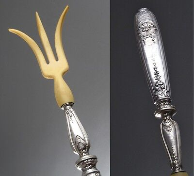 Antique French Sterling Silver Clad Serving Fork, Hallmark, Paul Foucard