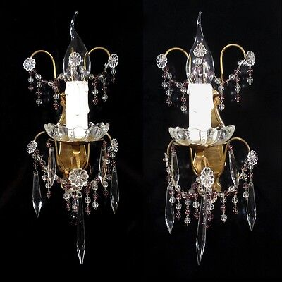 Pair of Vintage French Bronze Sconces Amethyst Beads Crystal Icicle Prisms