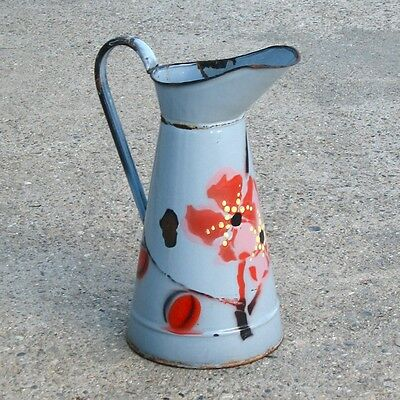 Vintage French Enamelware Sky Blue Body Pitcher with Flowers