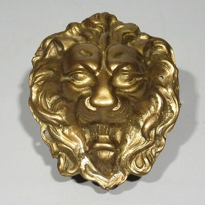 Vintage French Bronze Ornament, Lion's Head, Numbered, 5 1/2 x 4 5/8 Inches
