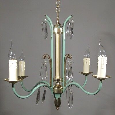 French Art Deco Aquamarine Tole Chandelier, Crystal Prisms, Adnet Style