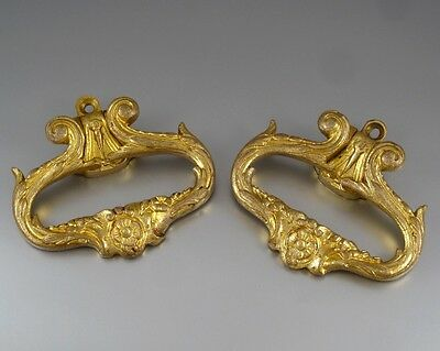 Pair of Antique French Gilded Bronze Drawer Pulls, Numbered