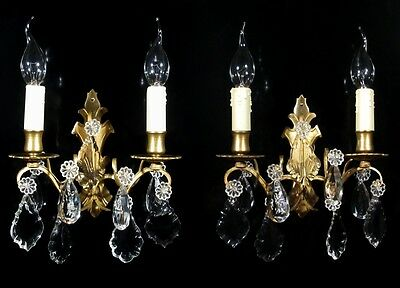 Pair of Vintage French Bronze Sconces Pendeloque Crystal Prisms Stamped Numbered