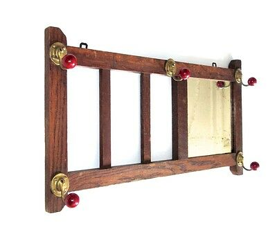 Vintage French Wooden Wall Coat Hat Rack, Mirror, 1930's, ParisBistrot Style
