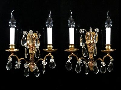 Pair of Vintage French Bronze Sconces  with Pendeloque Crystal Prisms, Stamped • CAD $340.24