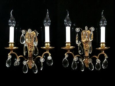 Pair of Vintage French Bronze Sconces  with Pendeloque Crystal Prisms, Stamped