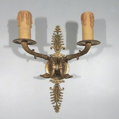 Antique French Gilded Bronze Sconce, Neoclassic Style, Swans and Palm, Stamped