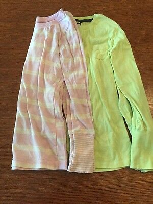 Lot of 2 Poof Girls M 10-12 Green and pink long sleeve tops