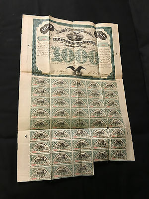 State of Tenessee 1000 Dollar Bond 1866 with Coupons #2398