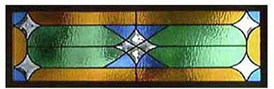 "Stain glass window Green, Amber, Blue & bevel Stars 10 x 36""WOW"