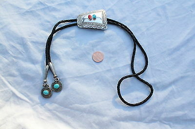 Bennett Turquoise & Red Coral Sterling Silver Bolotie Vintage