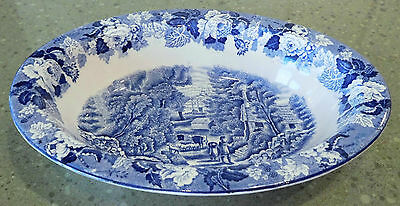 """WOODS & SONS Wood's Ware 9.75"""" Vegetable SERVING BOWL Blue White ENOCH English"""