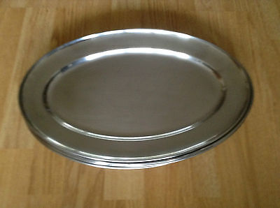 """Catering Stainless Steel Oval Serving Party Platters/ trays 10 Serving Trays 16"""""""