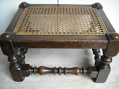 Small Victorian Gothic Oak Caned Foot Stool [dark/rattan/footstool/footrest/rest