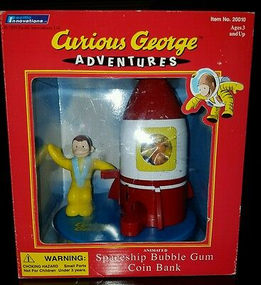 Vintage 1999 Curious George Adventures Spaceship Bubble Gum Coin Bank - New