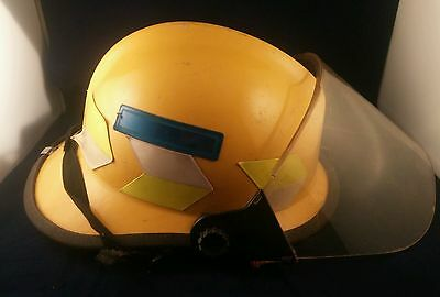 Safeco 1997 Edition certified Fire Helmet YELLOW W/Face shield Adjustable.