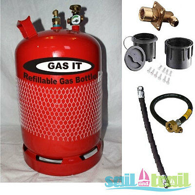 Premium Single GAS IT 11Kg Refillable LPG Cylinder Kit - External Fill Point