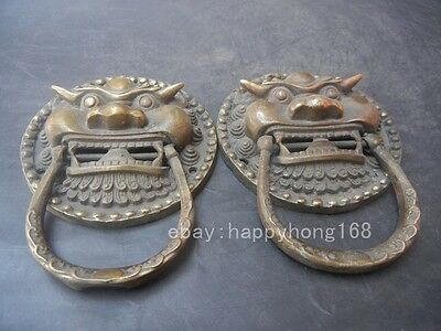 Chinese Folk Copper FengShui Foo Dog Lion Head Evil Spirits Door Knocker Pair