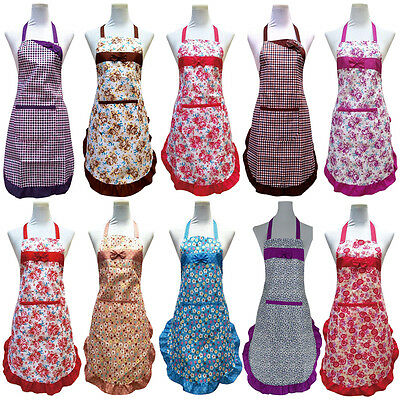 Women's Lady Apron With Pocket Bib Cooking Chef Floral Kitchen Restaurant Dress